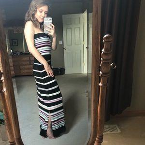 WHBM Strapless Horizontal Stripe Dress